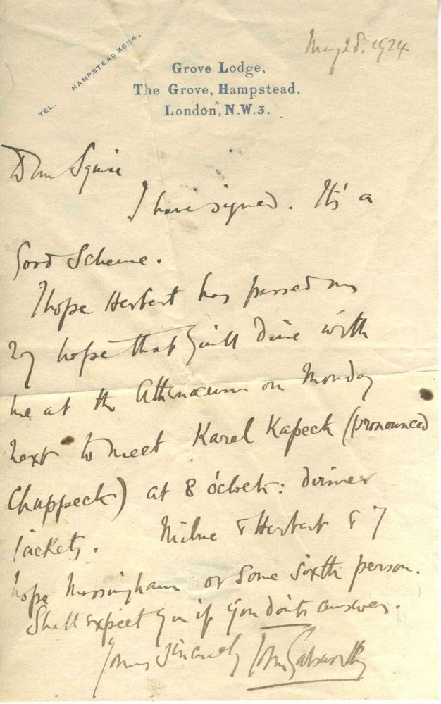 ALS, from Galsworthy to Sir John Collings Squire, inviting him to dinner to meet Karl Kapeck, A. A. Milne, Herbert and Massingham, European literary figures. John Galsworthy.