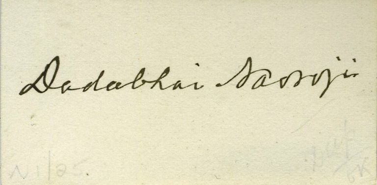 "Signed Calling Card of Dadabhai Naoroji, ""the Grand Old Man of India"", President of the Indian National Congress & First Indian Elected to House of Commons. India, Dadabhai Naoroji."