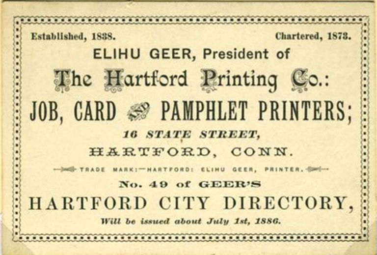 'Elihu Geer, President ... Job, Card and Pamphlet Printers'. Trade card with calendar.