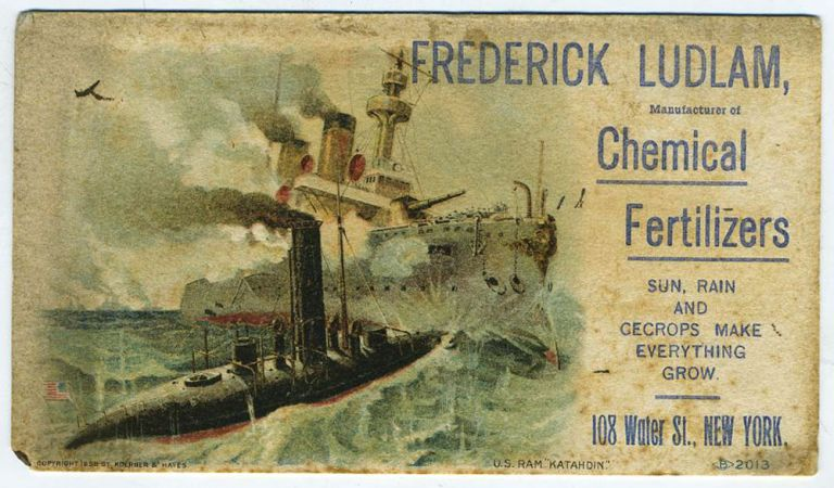 Advertising blotter illustrating USS Katahdin.