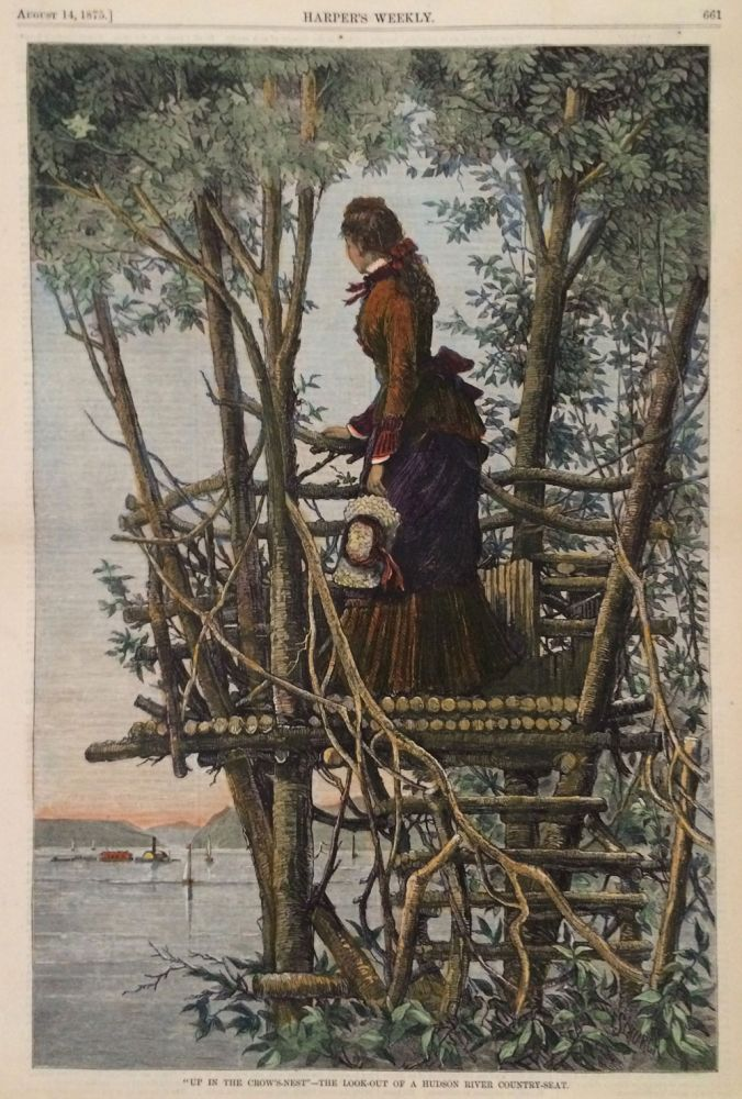 """Up In The Crow's-Nest"""" - The Look-out of a Hudson River Country-Seat , illustration from Harper's Weekly, full page. Frederick Stuart Church, American Painter and."""