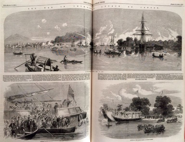 Five volumes of this influential and popular illustrated newspaper, with important content and many fine wood block engravings of China, Hong Kong, India and the US. Illustrated London News.