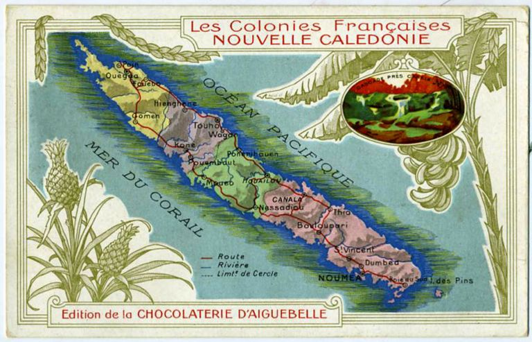Les Colonies Francaises, Nouvelle Caledonie (New Caledonia). Map trade card. Advertising card. Chocolaterie d'Aiguebelle.