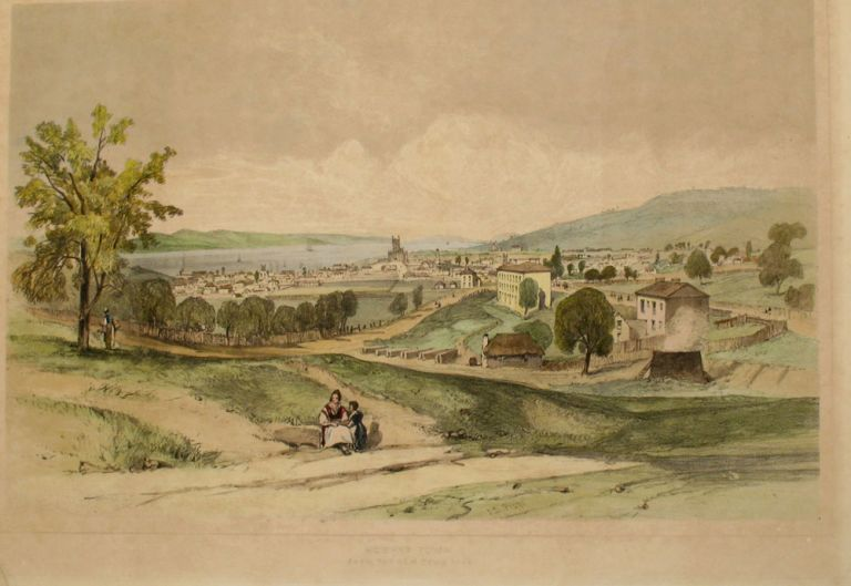 'Hobart Town from The New Town Road', Scarce color lithograph from 'Tasmania Illustrated'. John Skinner Prout.