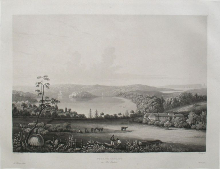 'Vooloo-Moloo au Port Jackson', aquatint of Sydney's Harbour and Garden Cove. C. P. T. Laplace, after Barthelemy Lauvergne.