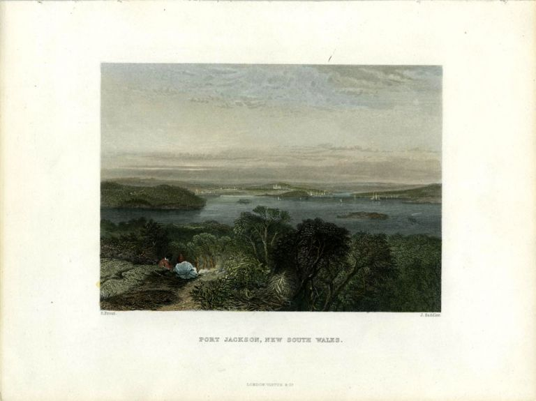 Port Jackson, New South Wales. Colored engraving. S. Prout, Samuel.