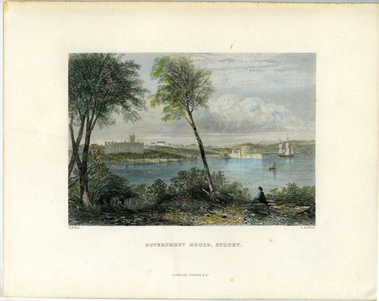 Government House, Sydney. Colored engraving. S. Prout, Samuel.