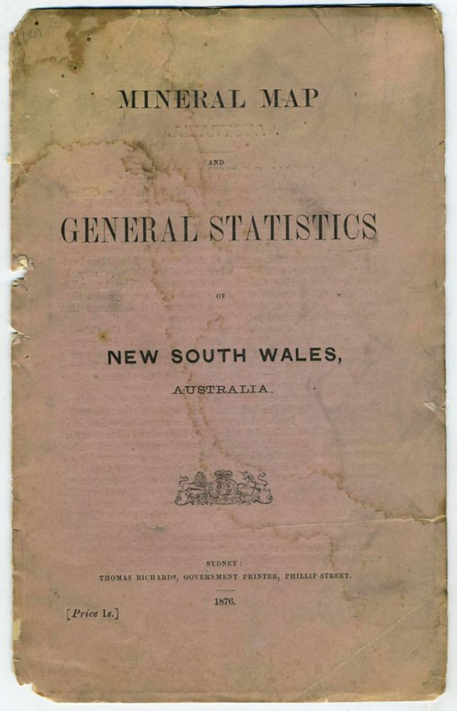 Mineral Map and General Statistics of New South Wales, Australia. Map in self wrapper. Australia, New South Wales.