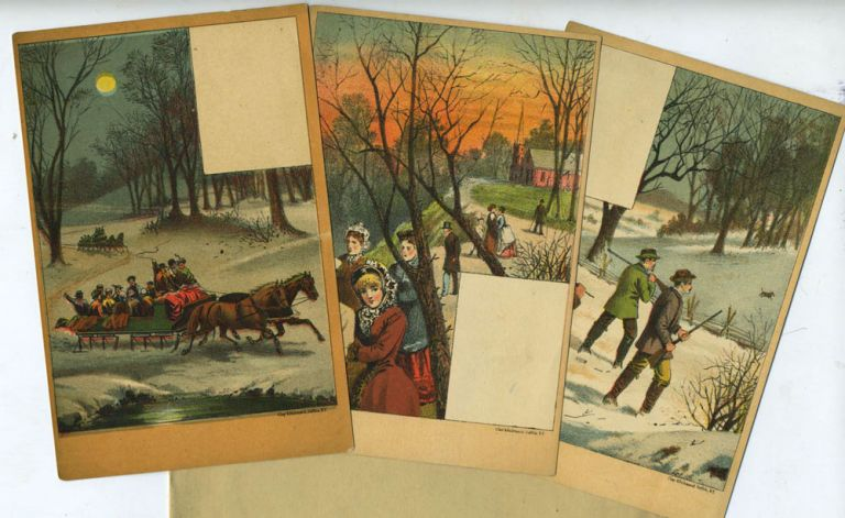 3 Sample Trade cards, illustrated with winter carolling, sleighing and hunting parties.