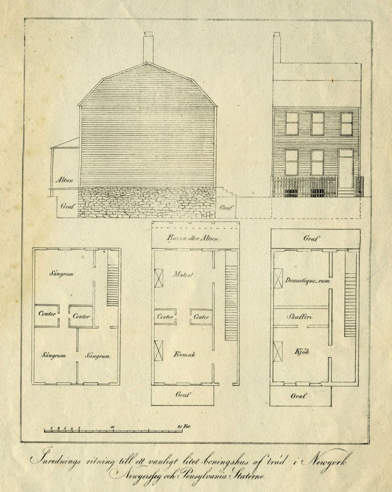 New York Architectural Rendering, Residential Building. Lithograph.