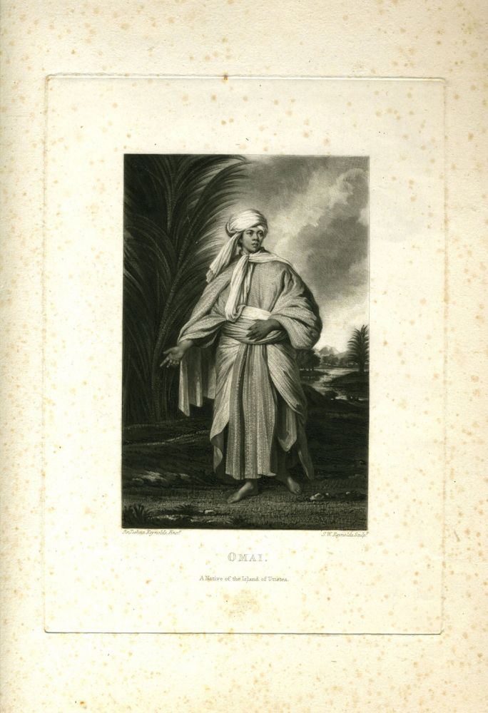 Omai, a native of the island of Utietea. Print after a painting by Sir Joshua Reynolds. Joshua Sir Reynolds, after.