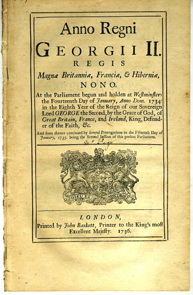 Night watch needed in the Parish of St. Martin in the Fields: Anno Regni Georgii II. Regis Magnae Britannaie, Franciae & Hiberniae, Octavo. At the Parliament begun and holden at Westminster, the Fourteenth Day of January, Anno Dom. 1734. Britain: Acts of Parliament.