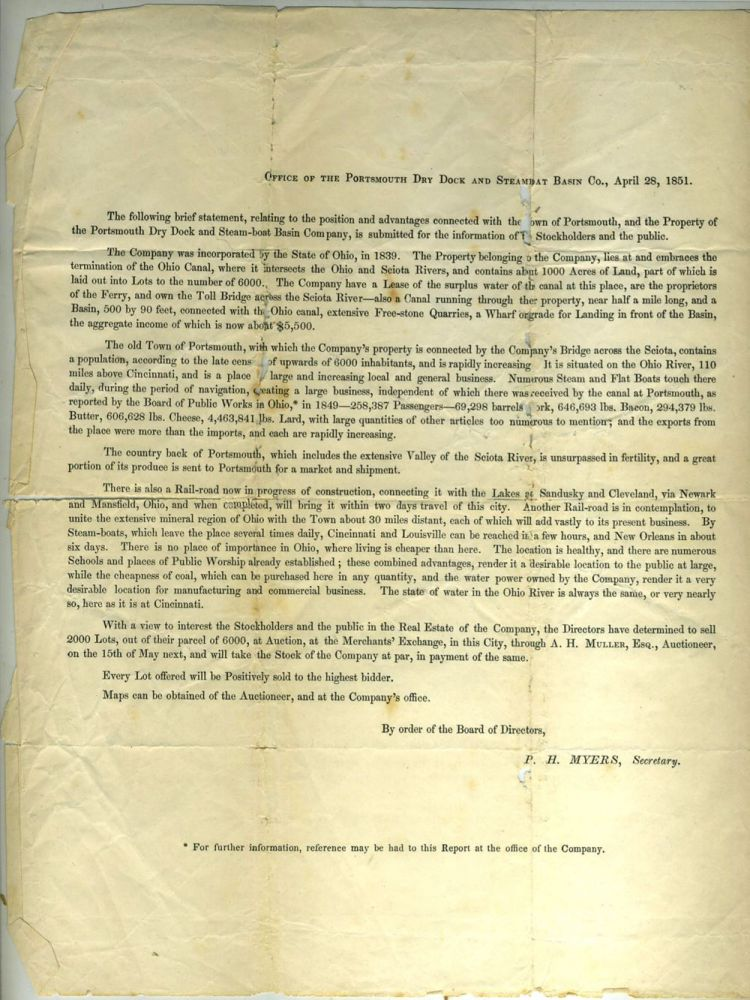 Portsmouth (Ohio) Drydock and Steamboat Basin Co., 1851 Statement Offering 2,000 lots for sale. Americana: Canal Era.