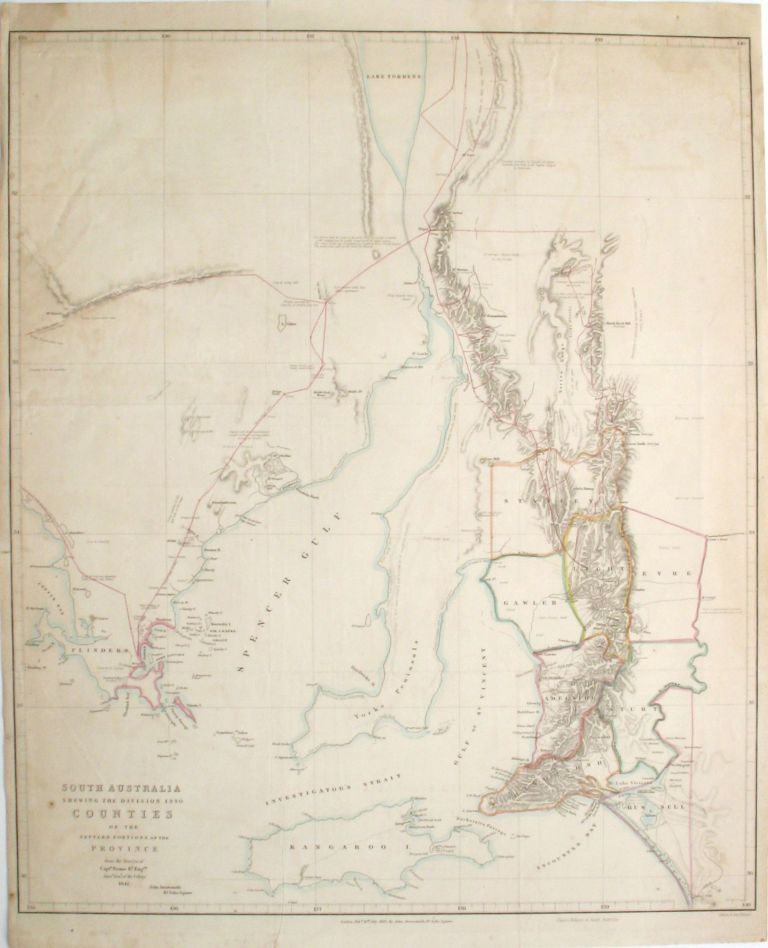 South Australia Shewing the Division into Counties of the Settled Portions of the Province from the Surveys of Captn Frome R.l Eng.rs Survr. Genl. of the Colony 1842. John Arrowsmith.