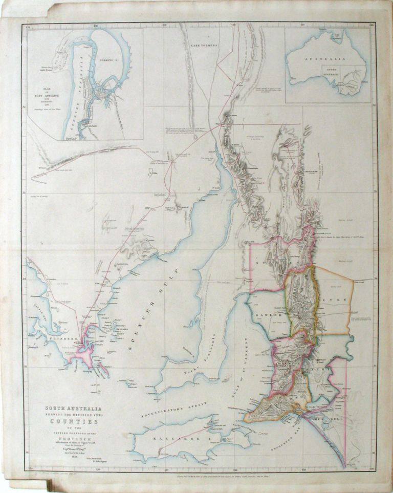 South Australia Shewing the Division into Counties of the Settled Portions of the Province With situation of Mines of Copper & Lead from the Surveys of Captn Frome R.l Eng.rs Map published London 20 March 1858. John Arrowsmith.