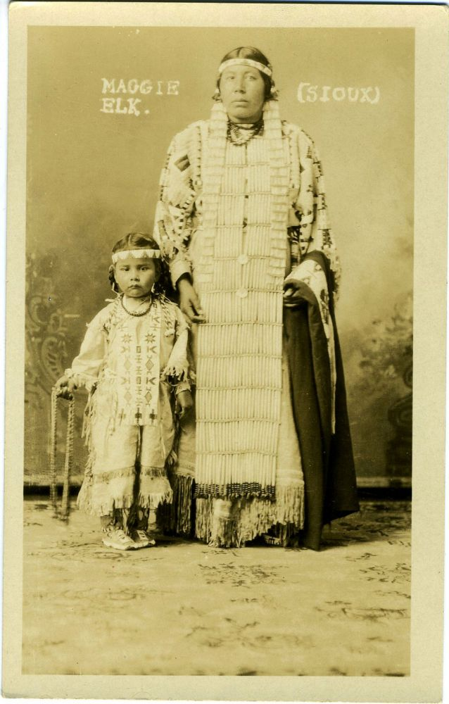 Maggie Elk [Sioux] Indian Real-Photo Postcard.