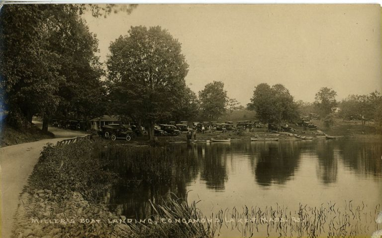 Miller's Boat Landing, Congamond Lakes, Massachusetts Real-Photo Postcard 93.