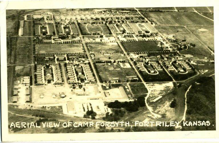Aerial View of Camp Forsyth; Fort Riley, Kansas - Real Photo Postcard.