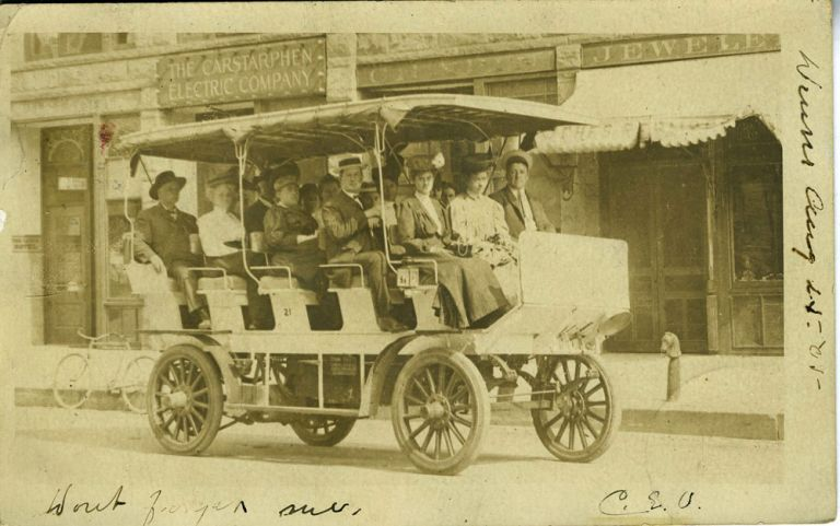 Early Electric Car, Carstarphen Electric Company, Real-Photo Postcard.