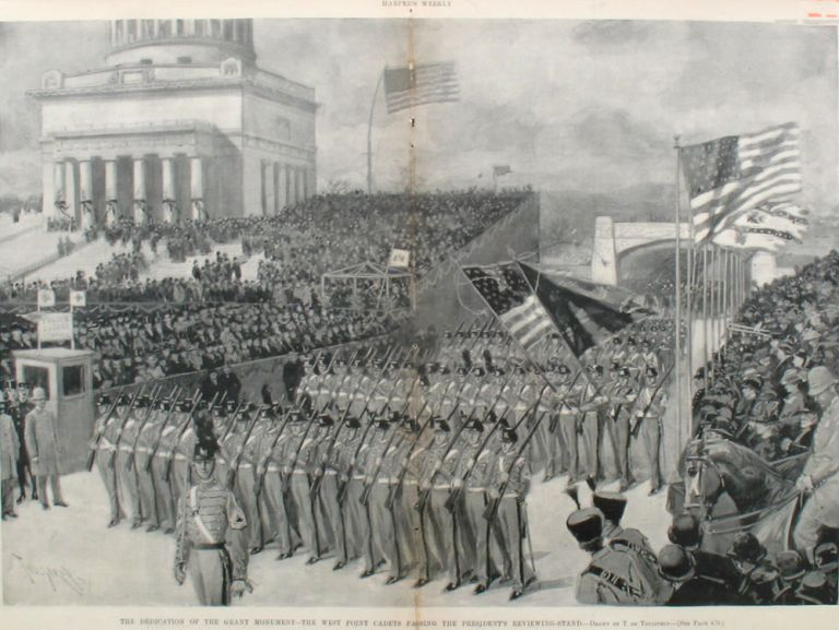 The Dedication of the Grant Monument - The West Point Cadets Passing the President's Reviewing Stand, a double page spread from Harper's Weekly. T. de Thulstrup, West Point.