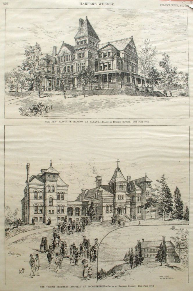 The New Executive Mansion at Albany; and The Vassar Brothers' Hospital at Poughkeepsie, a full page spread from Harper's Weekly. Hughson Hawley, Hudson River.