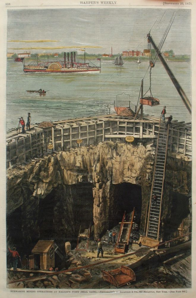 Submarine Mining Operations at Hallet's Point (Hell Gate), a full page spread from Harper's Weekly. Rockwood, Co., Hell Gate, Hallet's Point.