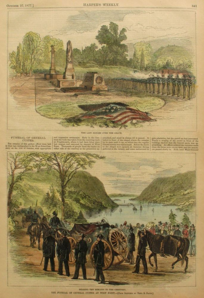 The Last Honors Over the Grave and the Funeral of General Custer at West Point, a full page spread from Harper's Weekly. Theo Davis, General Custer West Point.