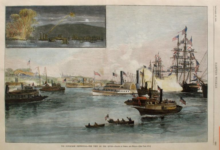 The Newburgh Centennial - The View on the River, a full page spread from Harper's Weekly. Schell, Hogan, Newburgh Hudson River.