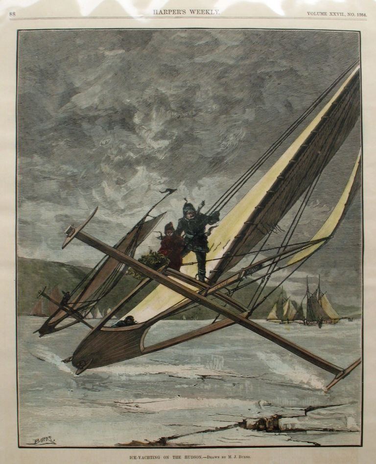 Ice Yachting on the Hudson, a full page spread from Harper's Weekly. M. J. Burns, Ice Yachting Hudson River.
