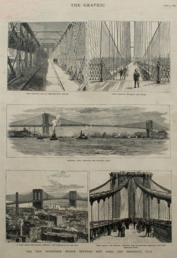 The New Suspension Bridge Between New York and Brooklyn, USA, a full page spread in The Daily Graphic. Brooklyn Bridge.