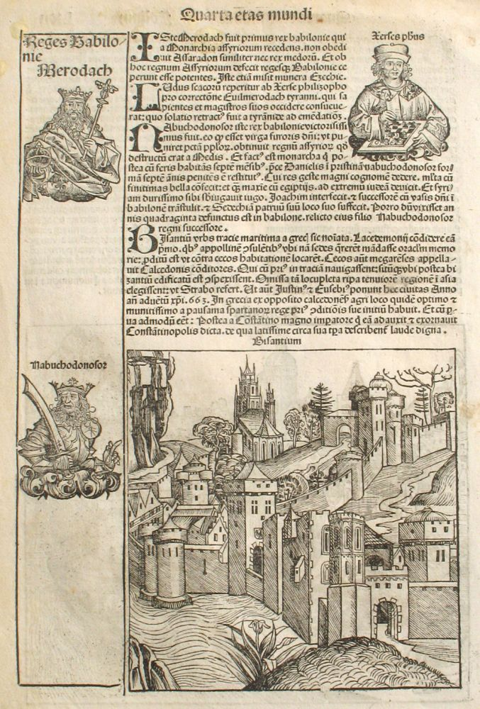 Constantinople, Bologna and a Chess Player in the Liber chronicarum- Nuremberg Chronicle, an individual page from the Chronicle featuring Bisantium (Byzantium, now CONSTANTINOPLE) and Bononia (BOLOGNA), with Chess Player (Plate No. LXII). Hartmann Schedel, Michel Wolgemuth, Wilhelm Pleydenwurff, ills.