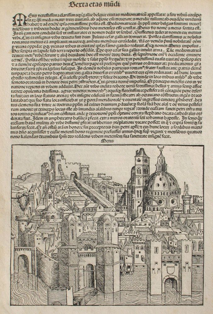 Metz, France in the Liber chronicarum- Nuremberg Chronicle, an individual page from the Chronicle featuring Metis/Metz/Mediomatricus (France) Plate No. CX. Hartmann Schedel, Michel Wolgemuth, Wilhelm Pleydenwurff, ills.