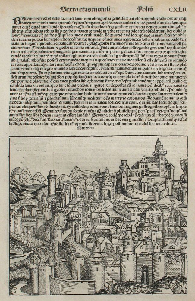 Ravenna, Italy in the Liber chronicarum- Nuremberg Chronicle, an individual page from the Chronicle, Plate No. CXLII. Hartmann Schedel, Michel Wolgemuth, Wilhelm Pleydenwurff, ills, ITALY.