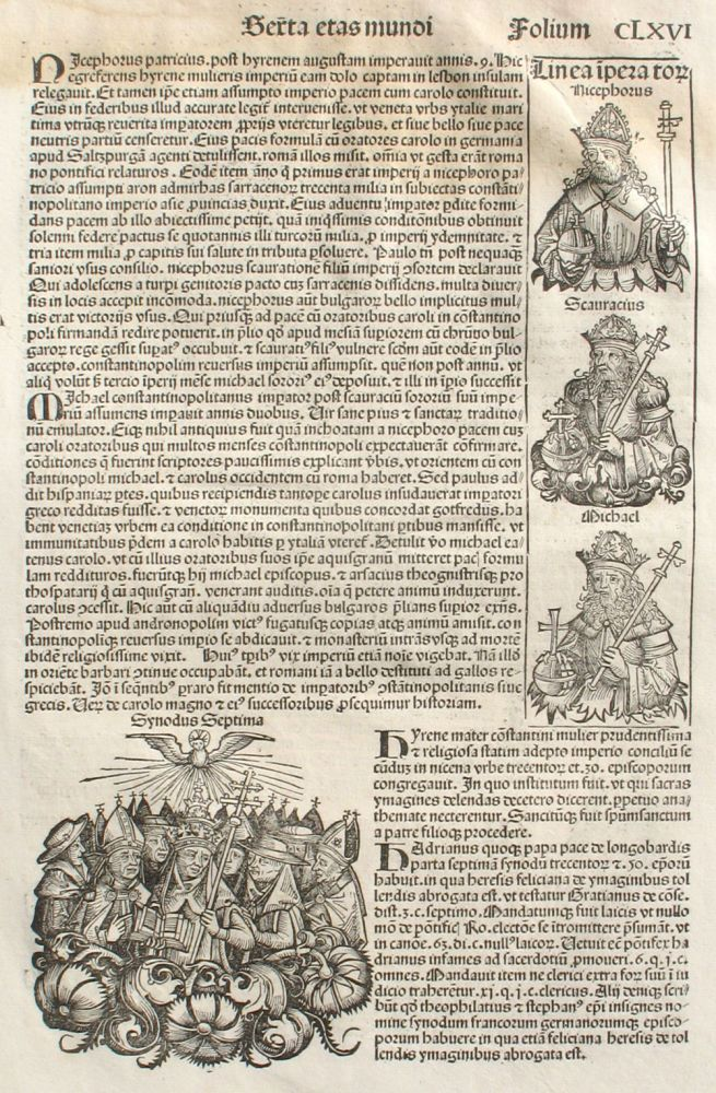 Liber chronicarum- Nuremberg Chronicle, an individual page from the Chronicle featuring description of the reigns of Irene, Nicephorus, Michael of Constantinople, Desiderius, Paul, Usuard, Alcuin, Plate No. CLXVI. Hartmann Schedel, Michel Wolgemuth, Wilhelm Pleydenwurff, ills.