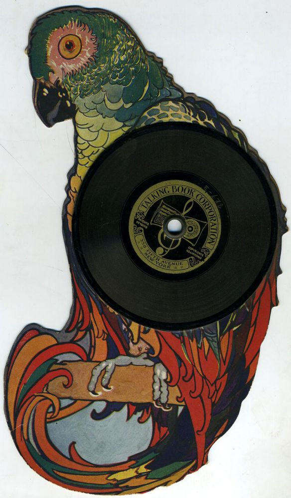 """I Am A Parrot"". Die Cut Parrot with vinyl record made by the Emerson Phonograph Company. Childrens, Parrots."