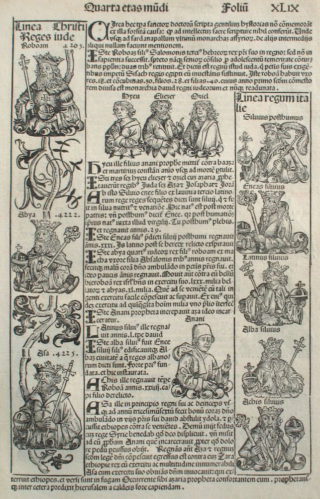 Liber chronicarum- Nuremberg Chronicle, an individual page from the Chronicle featuring lineage of Christ, lineage of Italian Kings, Hebrew Prophets and Israelite Kings, Plate No. XLIX. Hartmann Schedel, Michel Wolgemuth, Wilhelm Pleydenwurff, ills.