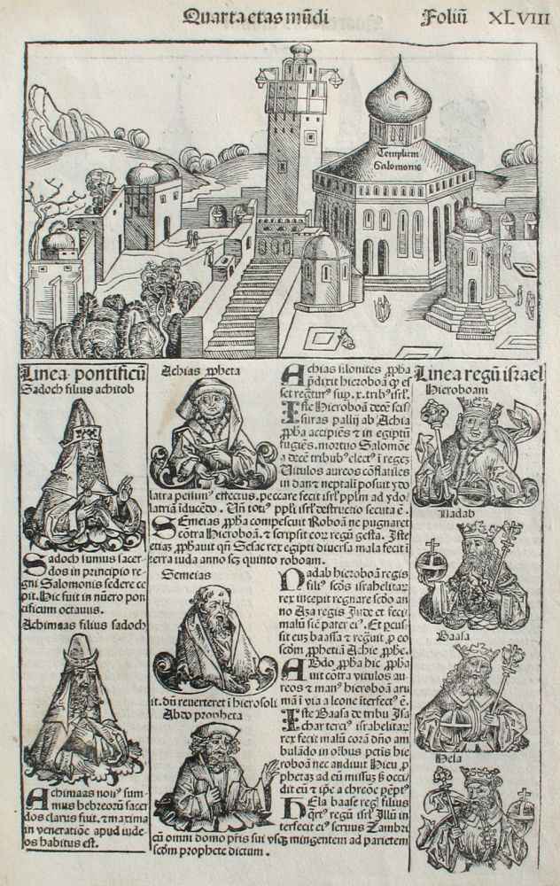 Liber chronicarum- Nuremberg Chronicle, an individual page from the Chronicle featuring King Solomon's Temple, and the City of Perugia, Plate No. XLVIII. Hartmann Schedel, Michel Wolgemuth, Wilhelm Pleydenwurff, ills.