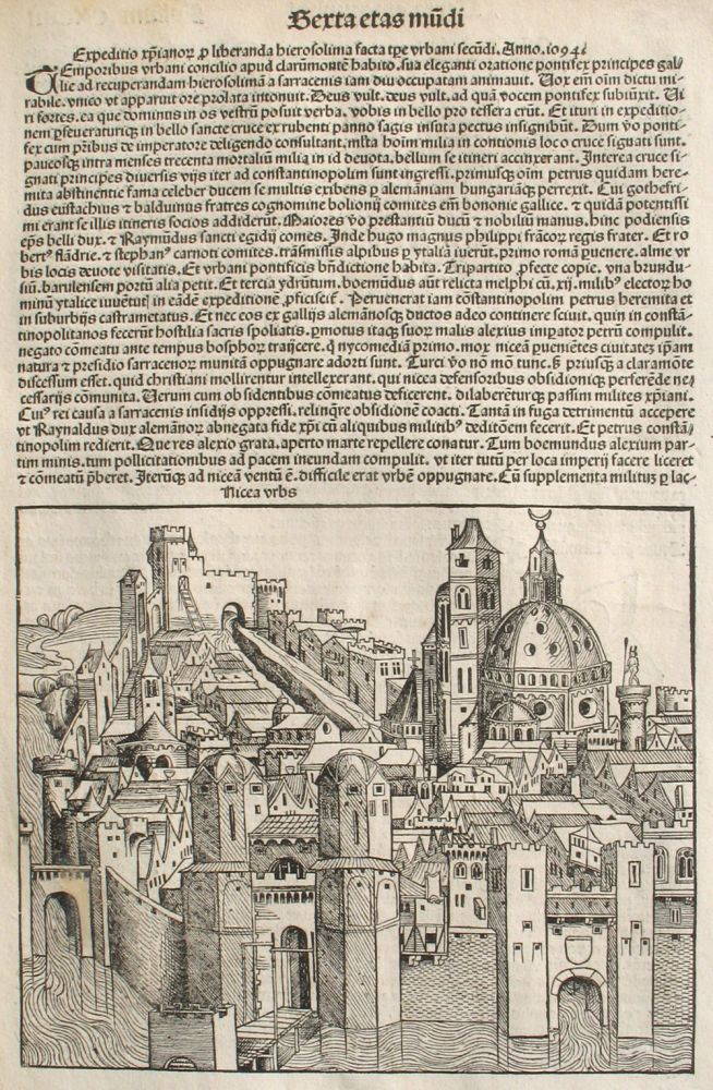 Liber chronicarum- Nuremberg Chronicle, an individual page from the Chronicle featuring Nicea or An Expedition for the Relief of Jerusalem Made in the time of Pope Urban the Second in the Year 1094., Plate No. CXCIIII. Hartmann Schedel, Michel Wolgemuth, Wilhelm Pleydenwurff, ills.