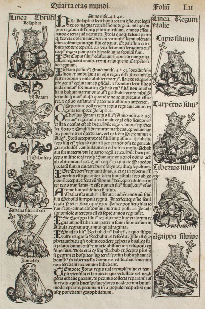 Liber chronicarum- Nuremberg Chronicle, an individual page from the Chronicle featuring Lineage of Christ, Athaliah, Lineage of Italian and Israelite Kings, Plate No. LII. Hartmann Schedel, Michel Wolgemuth, Wilhelm Pleydenwurff, ills.