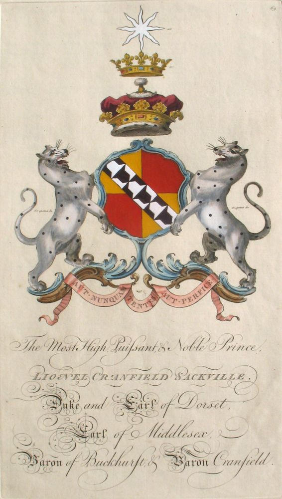 Family Crest of The Most High, Puissant & Noble Prince, Lionel Cranfield Sackville, Duke and Earl of Dorset, Earl of Middlesex, Baron of Buckhurst & Baron Cranfield. Sir William Segar, Joseph Edmondson, Sackville Family.