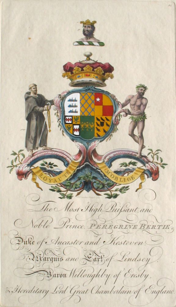 Family Crest of The Most High, Puissant, and Noble Prince, Peregrine Bertie, Duke of Ancaster and Kesteven, Marquis and Earl of Lindsey, Baron Willoughby of Eresby, & Hereditary Lord Great Chamberlain of England. Sir William Segar, Joseph Edmondson, Bertie Family.