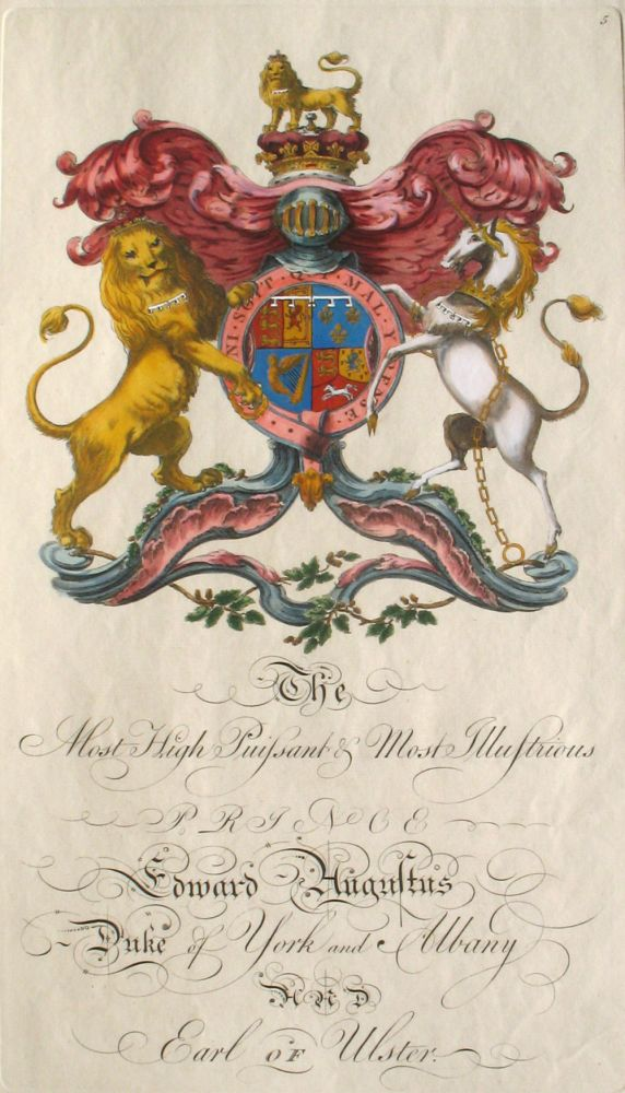 Family Crest of The Most High Puissant & Most Illustrious Prince Edward Augustus, Duke of York and Albany and Earl of Ulster. Sir William Segar, Joseph Edmondson, Augustus Family.