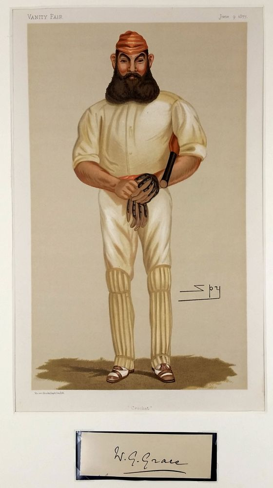 "Spy cartoon & autograph of W. G. Grace, ""Cricket"" [with] autograph. ""no cricketer, living or dead, has ever approached him"" William Gilbert Grace."
