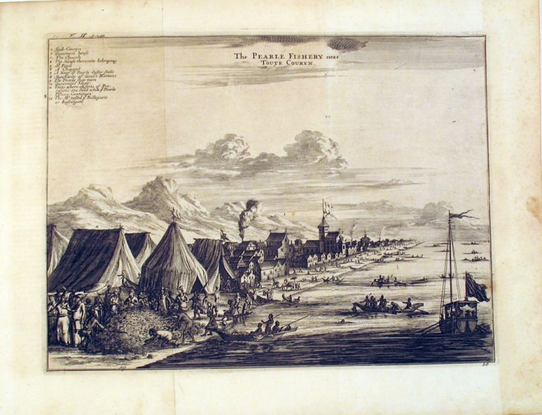 The Pearle Fishery near Toute Couryn, copper engraving from Johan Nieuhoff's 'Voyages and travels, into Brasil, and the East-Indies'. Dutch East India Co, Pearling, Johan Nieuhoff, Johannes Kip.