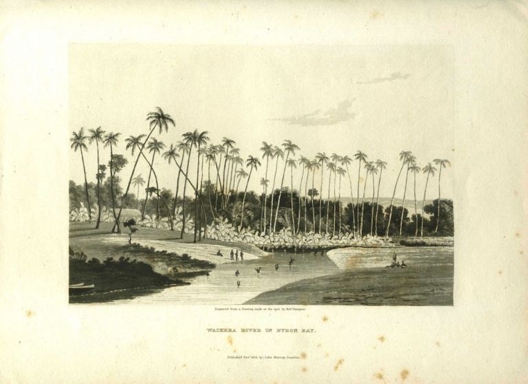 Waikeea River in Byron Bay. Aquatint depicting Hawaiian natives of Byron Bay (Hilo Bay) fishing and playing in the water. Hawaii, ron.