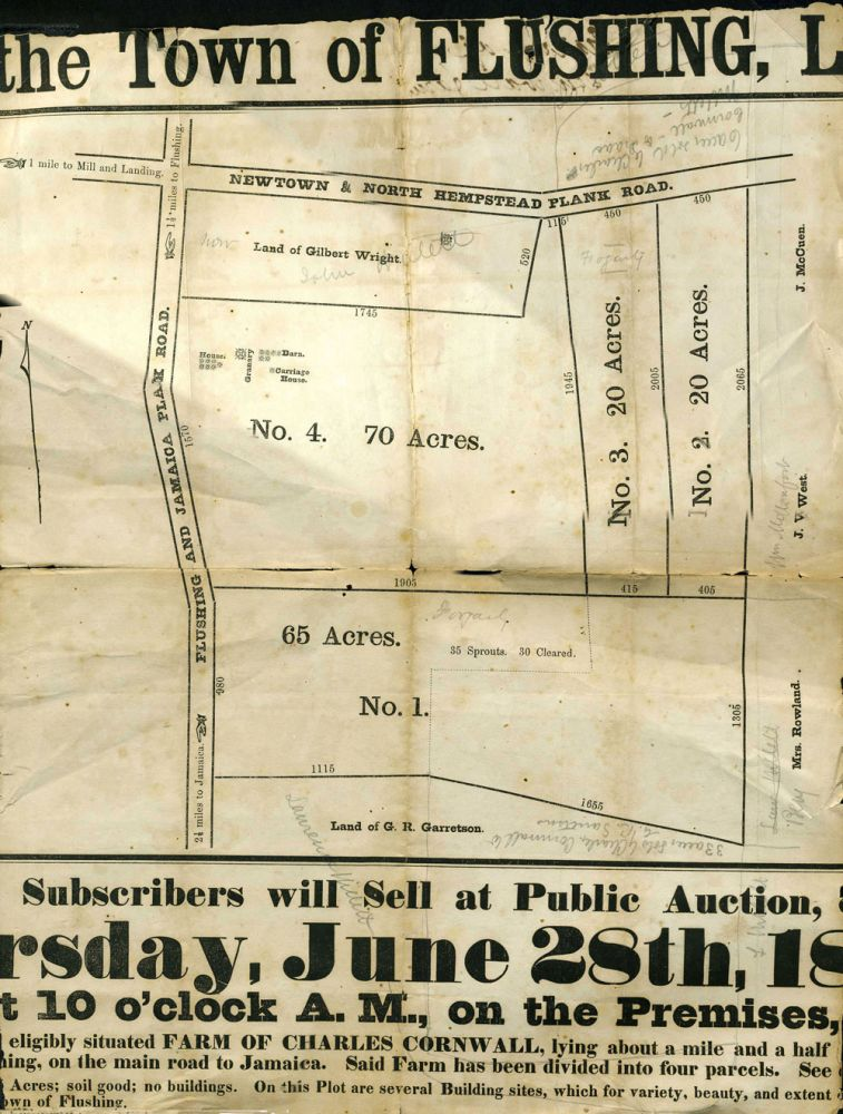 1829 Land Sale Indenture with Subsequent Auction Broadside, ca. 1860. N. Y. Real Estate Broadside Queens.