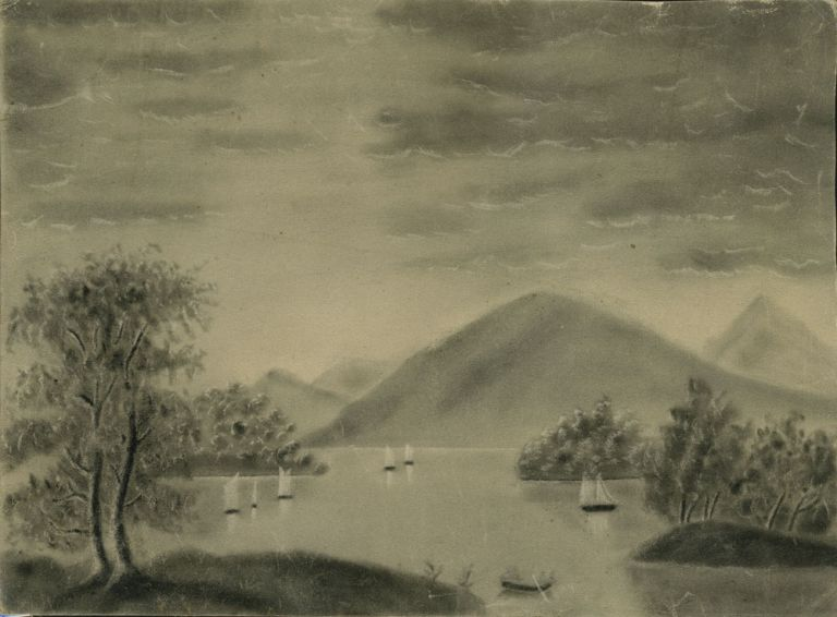Hudson River School Charcoal on Sand Paper Painting.