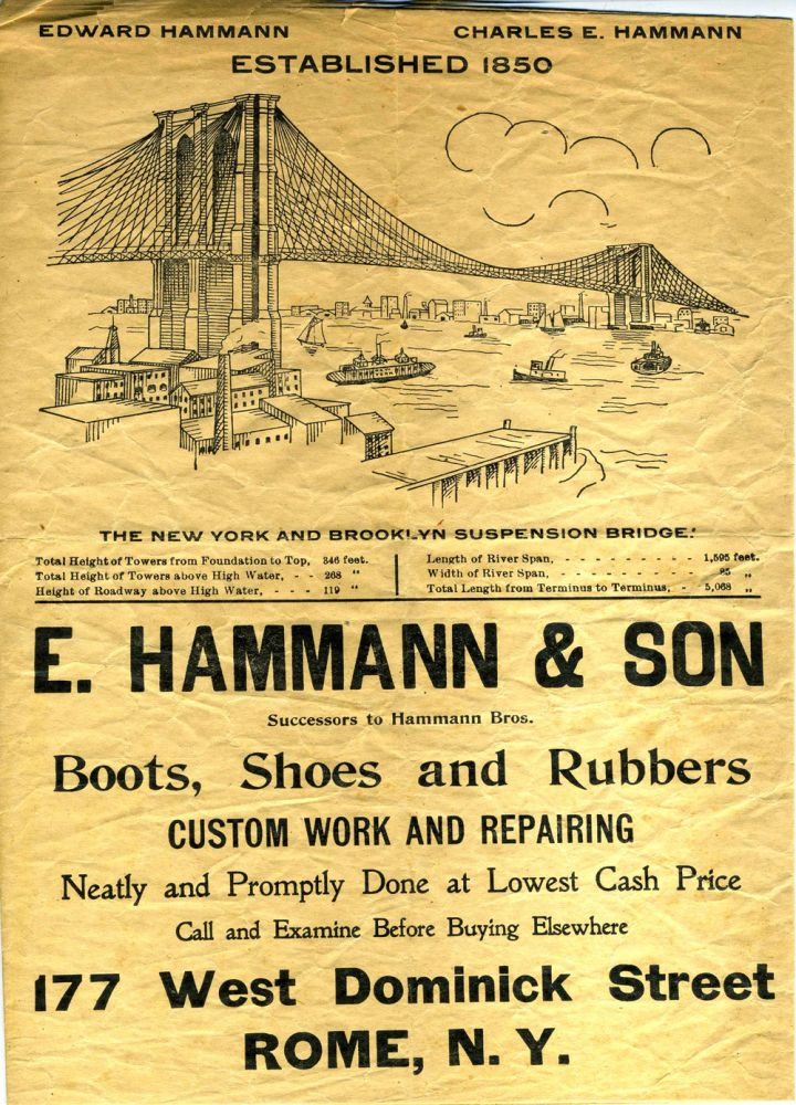 """Advertisement for E. Hammann & Son, Shoemakers of Rome, NY, with illustration of the """"New York and Brooklyn Suspension Bridge"""" Brooklyn Bridge Wrapping Paper."""