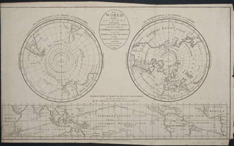 Geography. A Map of the World in three Sections...the Polar Regions to the Tropics in which are traced the Tracts of Lord Mulgrave and Captain Cook Towards the North & South Poles and the Torrid Zone or Tropical Regions with the New Discoveries in the South Seas. Bowen, A. Bell sculpt.