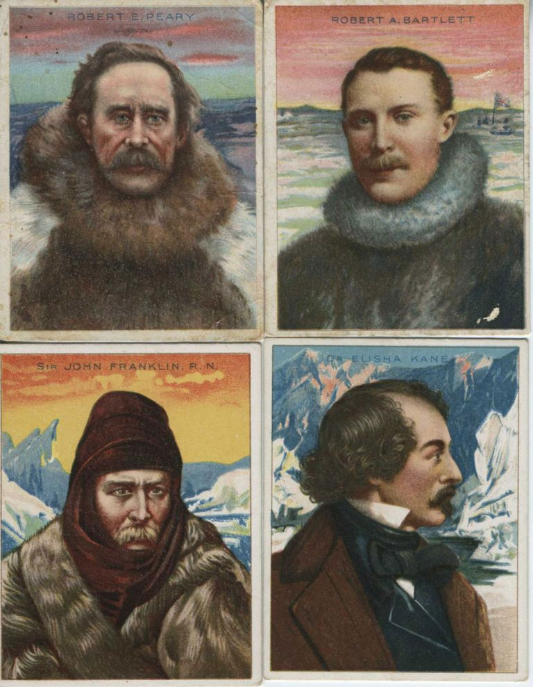 """Four Arctic Explorers from the""""World's Greatest Explorers"""" Series advertising Hassan Cigarettes."""